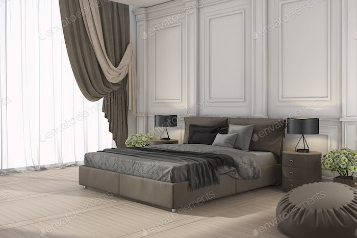 3d rendering classic bed in classic bedroom with curtain