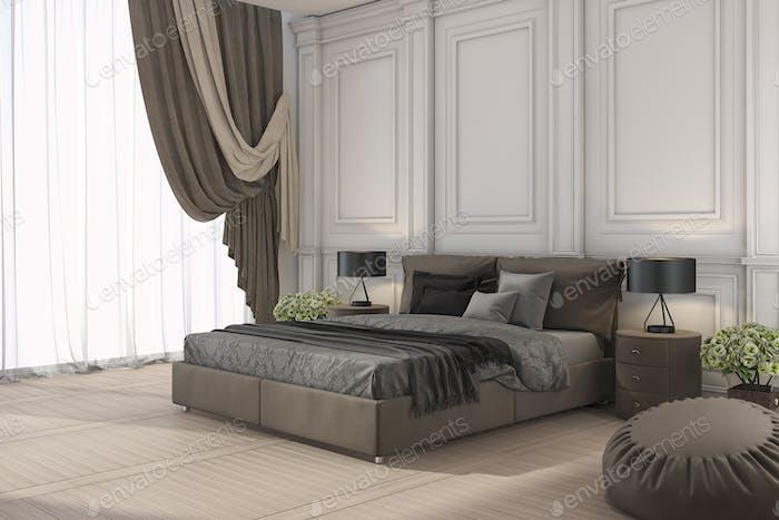 3d рендеринга классическая кровать в классической спальне с занавеской