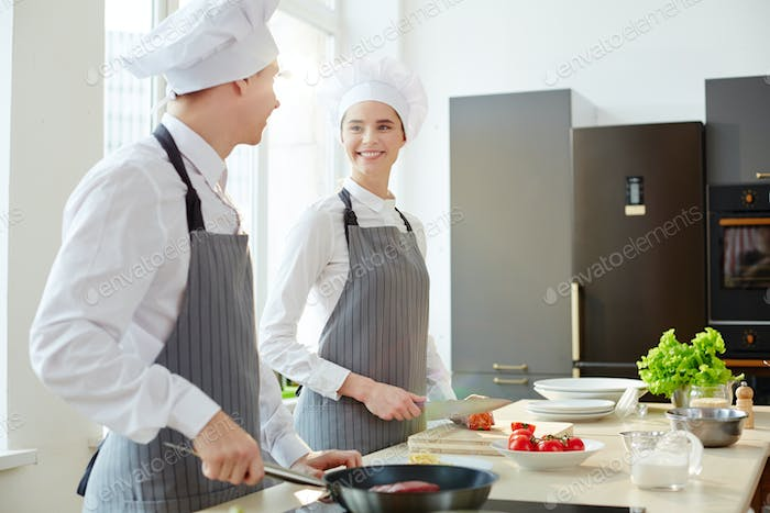 Trainees in the kitchen