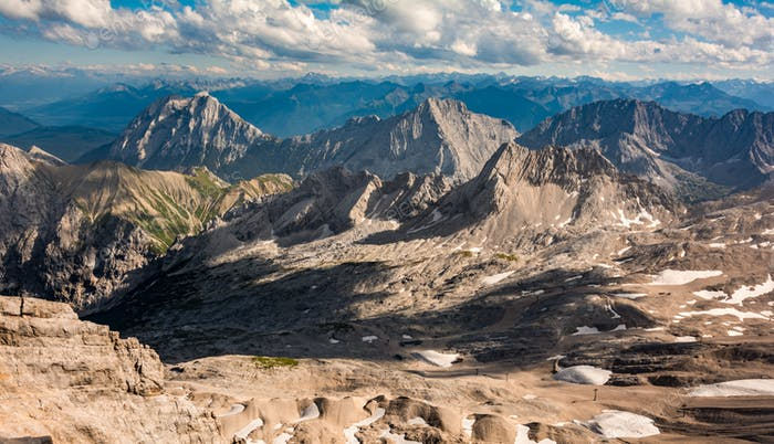 Zugspitze, Germany. Stunning views of the mountainous hilly valley