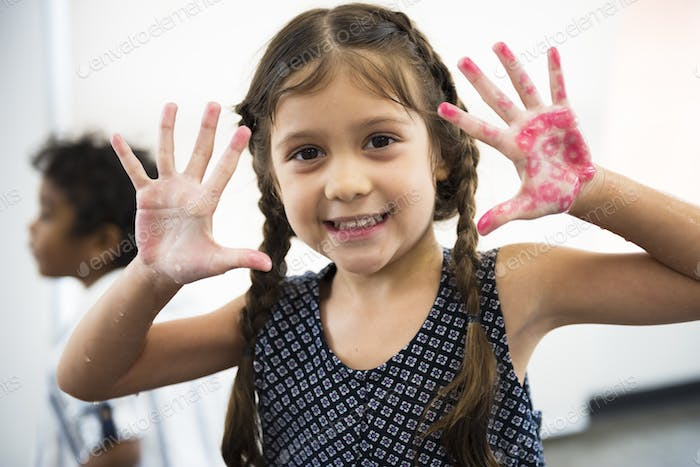Young Girl Showing Hands Color Stamp