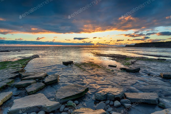 Sunset over the beach at Kimmeridge