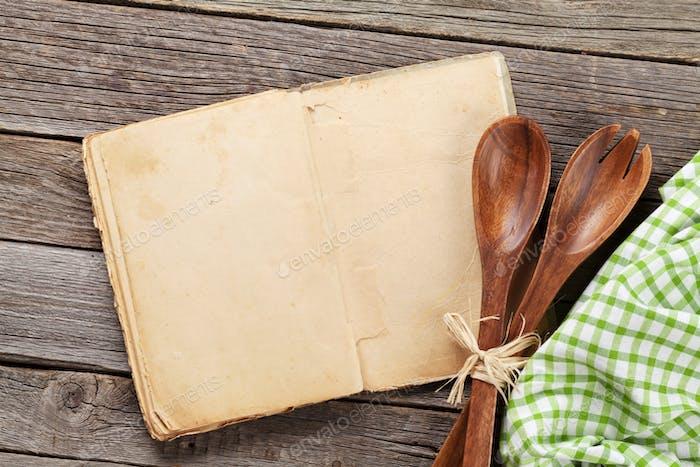 Blank Vintage Rezept Kochbuch und Utensilien