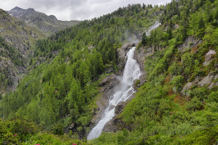 Rutor Waterfall in aosta Valley, Italy