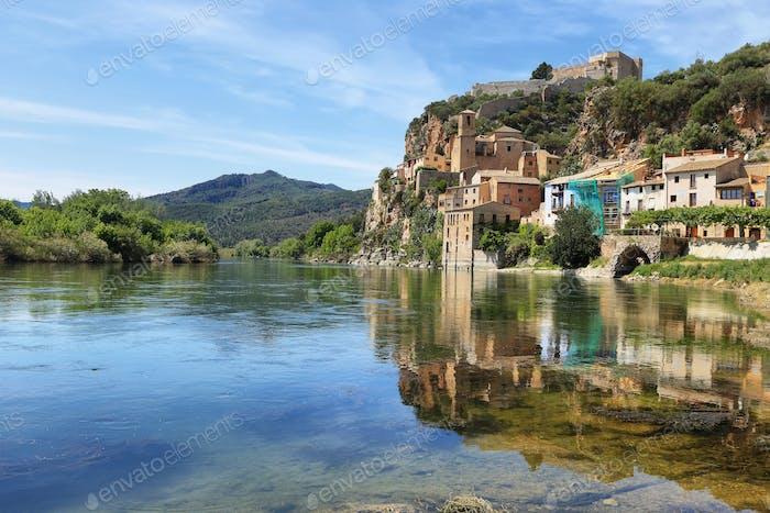 Ebro river Miravet village in Catalonia