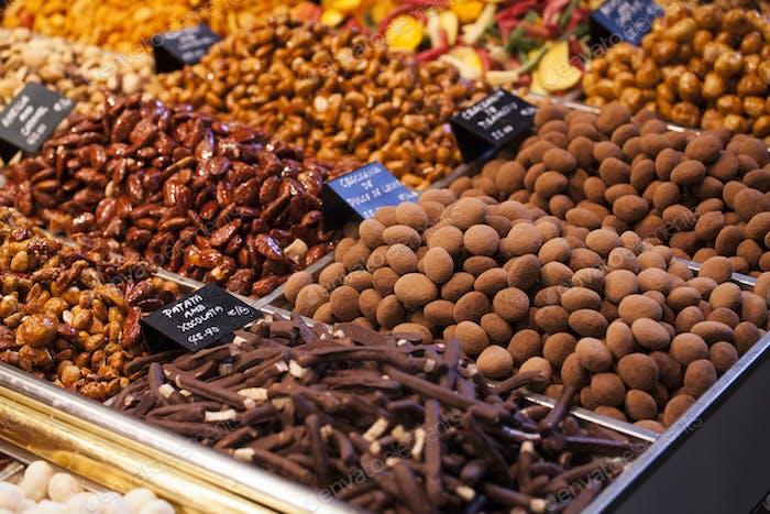 Gourmet assorted truffles in the market