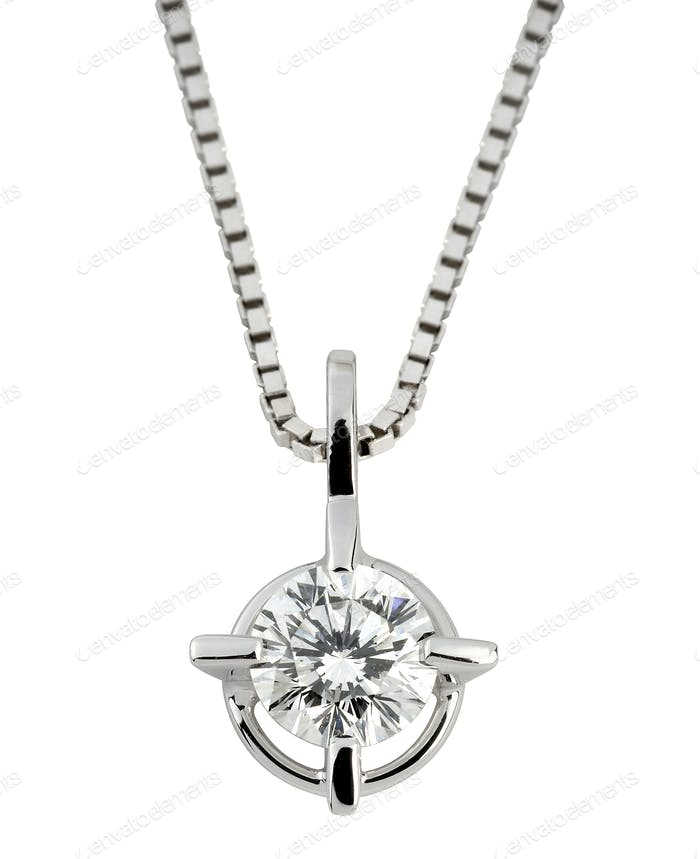 Circular solitaire diamond pendant in silver