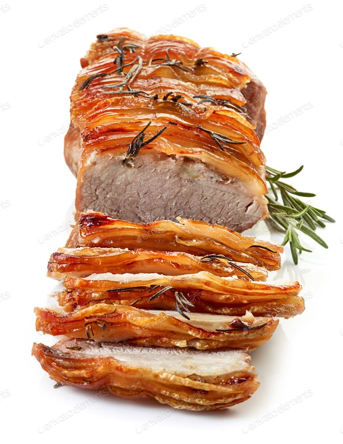 roasted sliced pork and rosemary