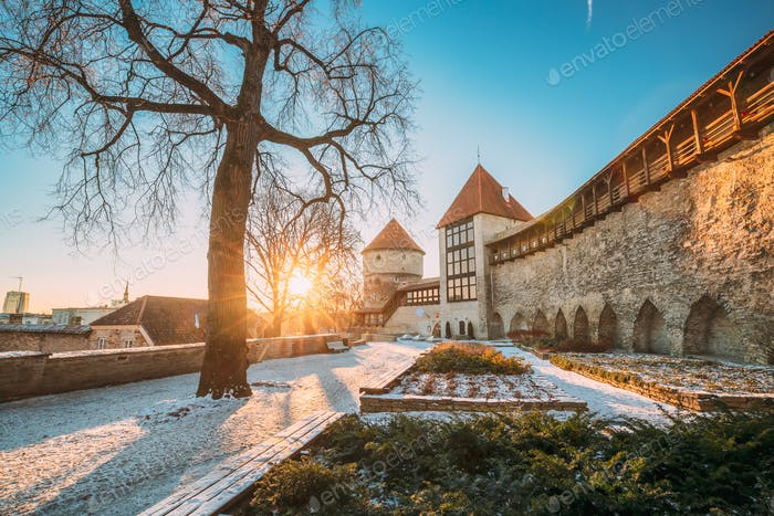Tallinn, Estonia. Former Prison Tower Neitsitorn In Old Tallinn. Medieval Tower At Winter Sunrise In