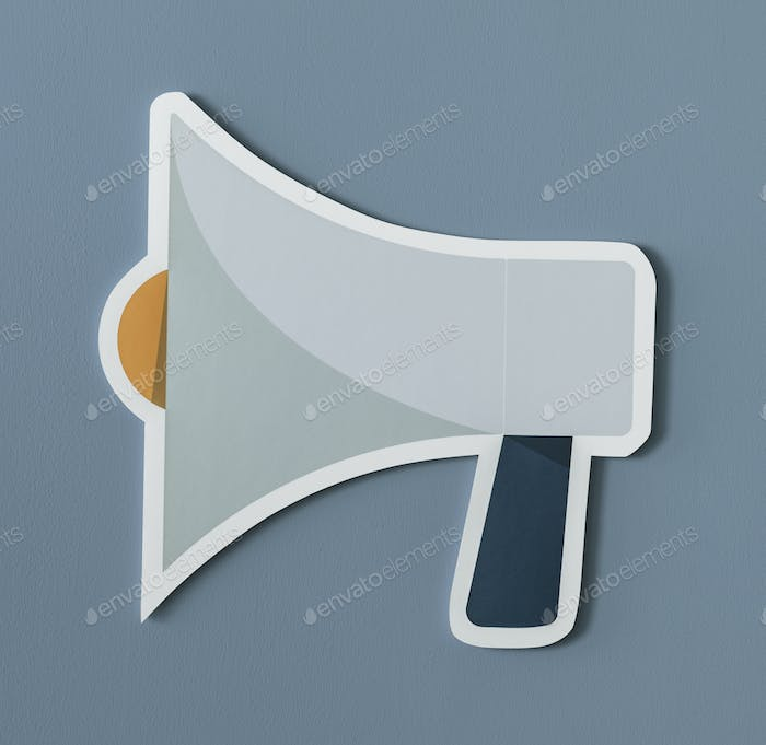 Megaphone speaker audio paper icon