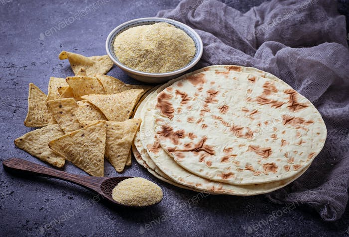 Mexican tortillas, nacho chips and corn flour
