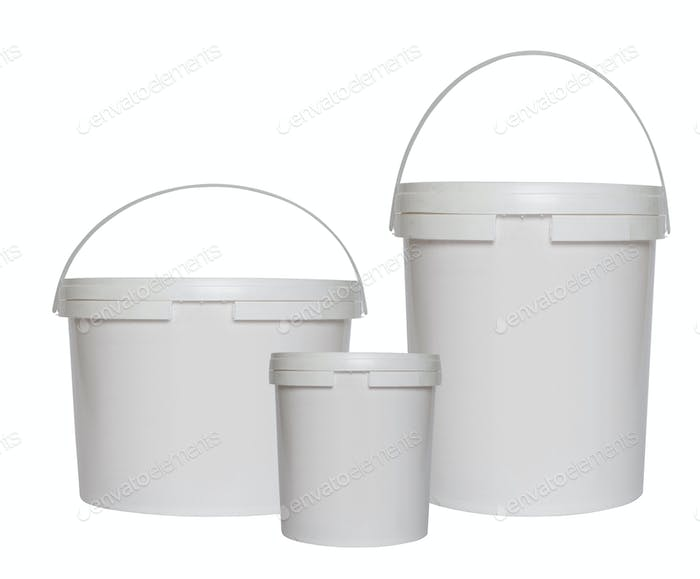 Three white plastic buckets isolated