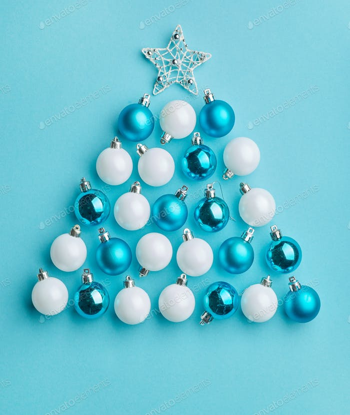 Christmas tree made of white and blue baubles