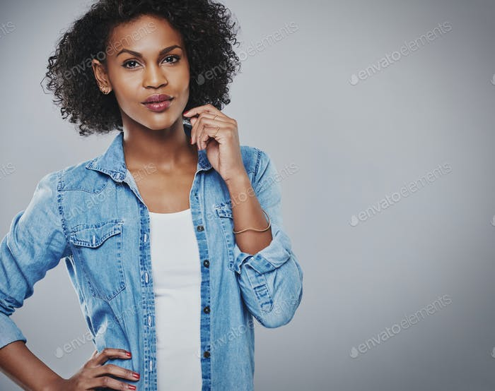 Attractive thoughtful African American woman