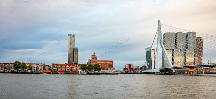 Rotterdam, Netherlands skyline and Erasmus bridge in the afternoon