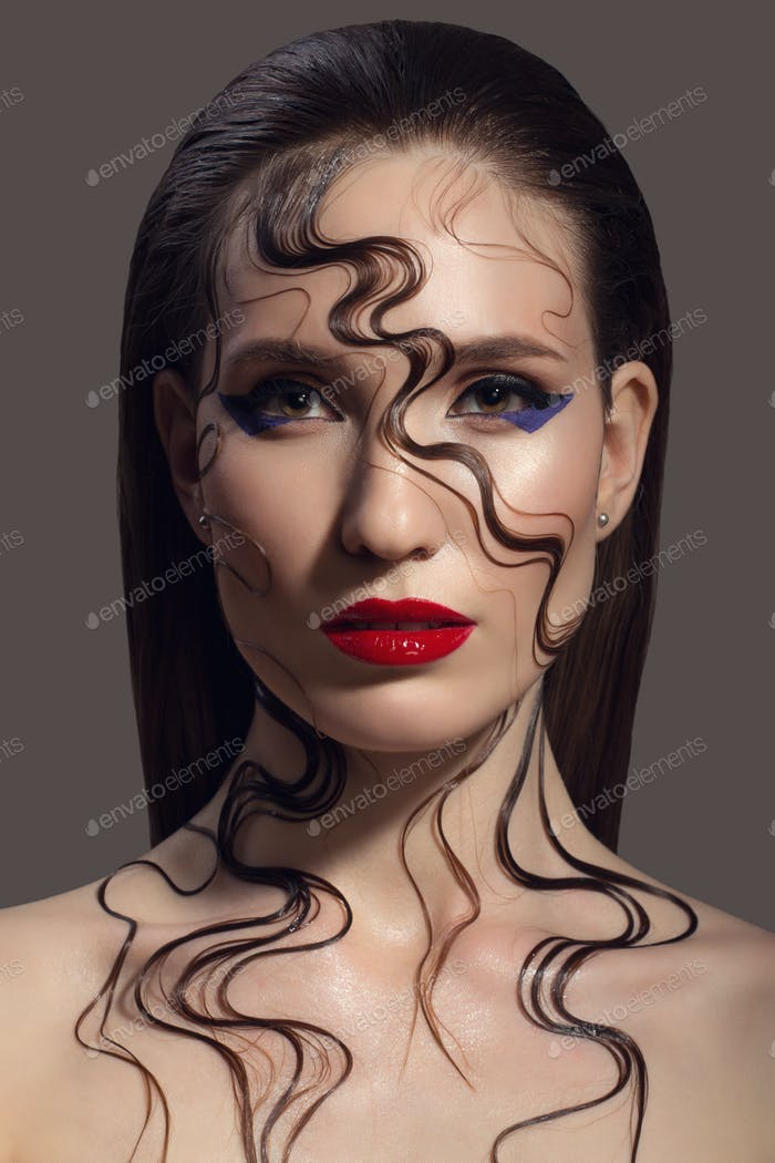 Portrait Of Beautiful Woman. Fantasy Make-up.
