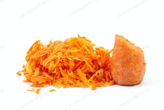 Some grated carrot and half