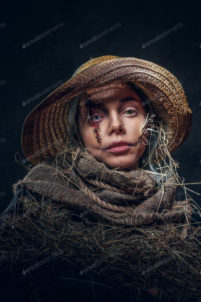 Hallowee costume concept - pretty girl is a scarecrow