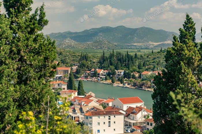 Inspirational beautiful town and mountains in Croatia