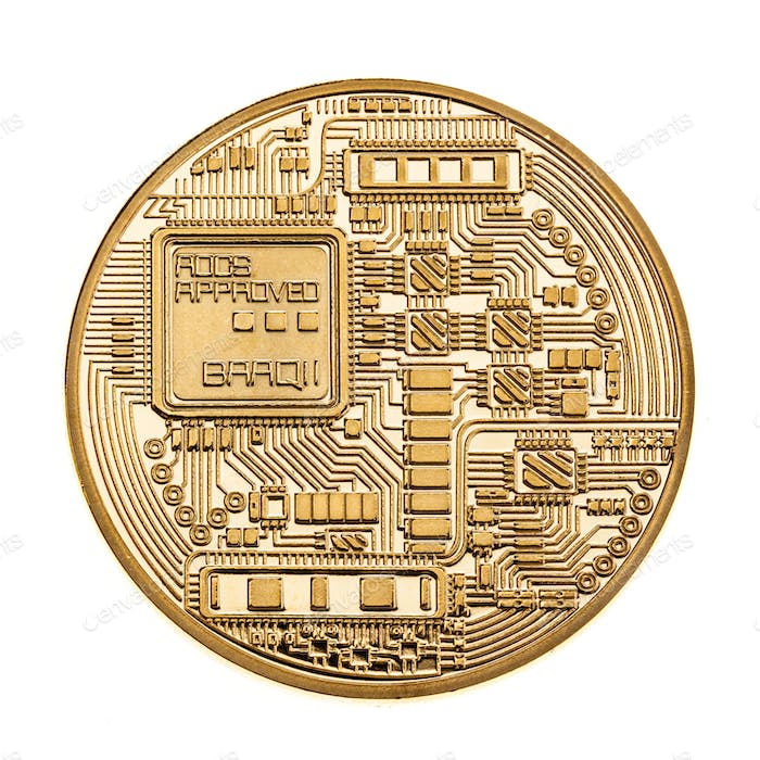 Golden cryptocurrency coin isolated