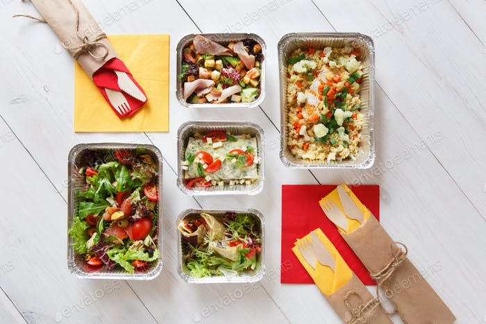 Healthy food in boxes, diet concept.