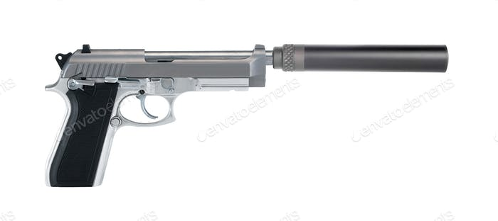 Pistol with a silencer isolated