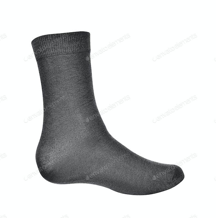 Schwarze Socke auf weißem Hintergrund