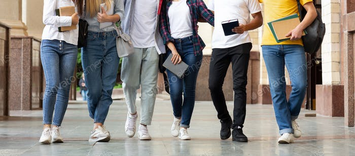 College classmates walking after classes outdoors, crop
