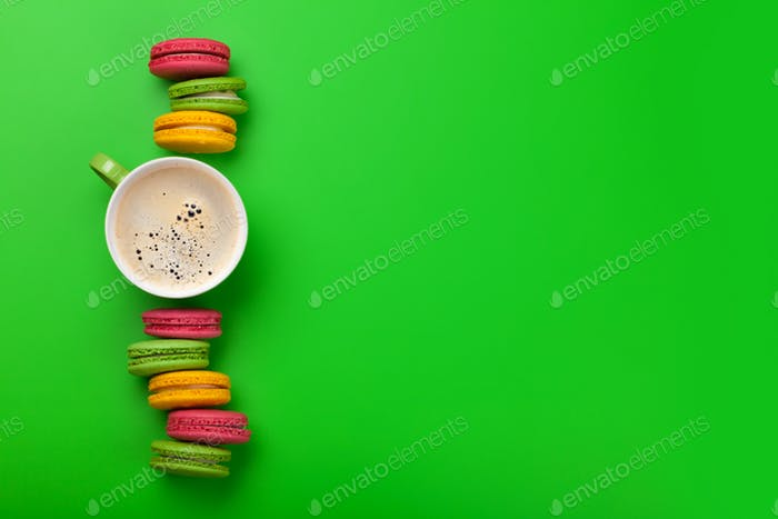 Cake macaron or macaroon sweets and coffee