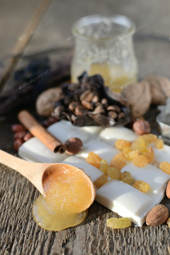 wooden spoon with honey