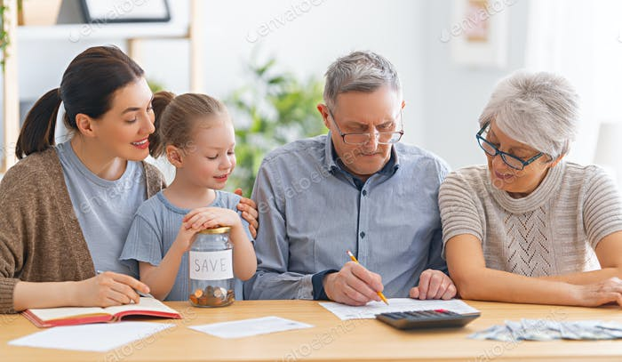 family managing  budget
