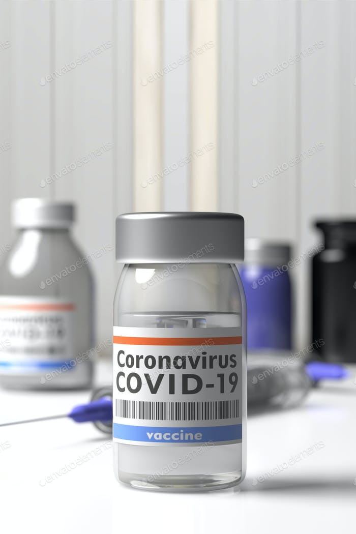 Coronavirus Covid 19 Vaccination. Medical vial with vaccine. 3d illustration