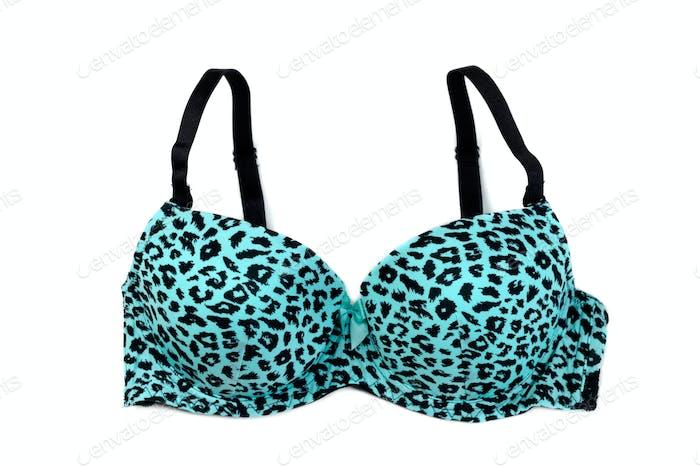 Blue bra with pattern.