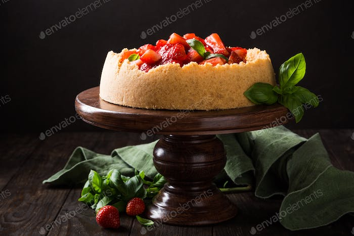 Strawberry cheesecake with basil