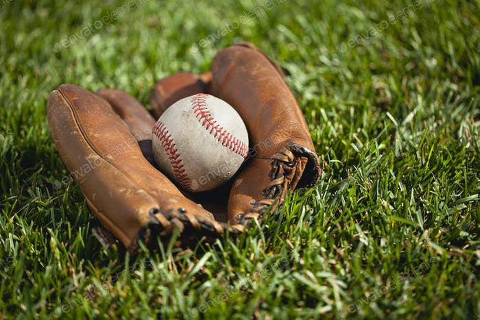 Old Baseball Mitt and Ball on Grass Field