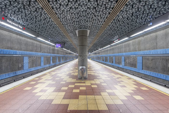 55168,Movie reels on ceiling in subway station, Los Angeles, California, United States