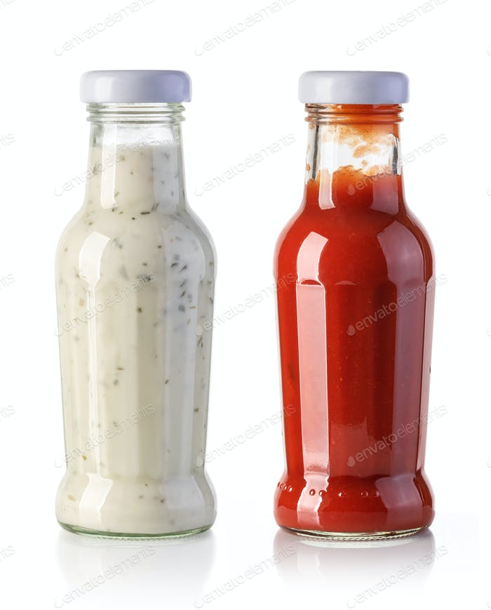 ketchup and tartar sauce bottles isolated on a white background
