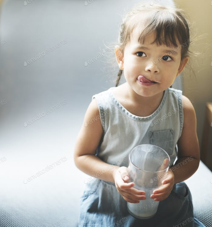Girl Kid Child With Glass Concept