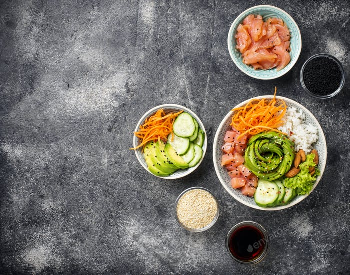 Hawaiian poke bowl with salmon, rice and vegetable