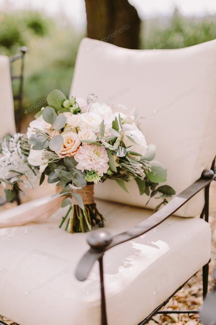 wedding bouquet with white peonies for rustic wedding