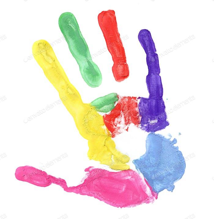 Farbiger Handdruck auf weißem Hintergrund