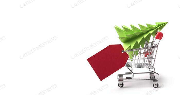 Christmas tree inside shopping cart with blank space for prices