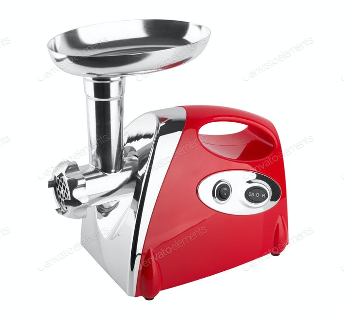 Electric meat grinder isolated on white background