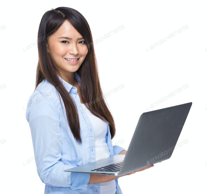 Woman use laptop computer