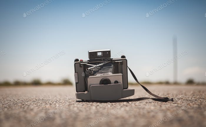 Vintage Camera in the Middle of a Street