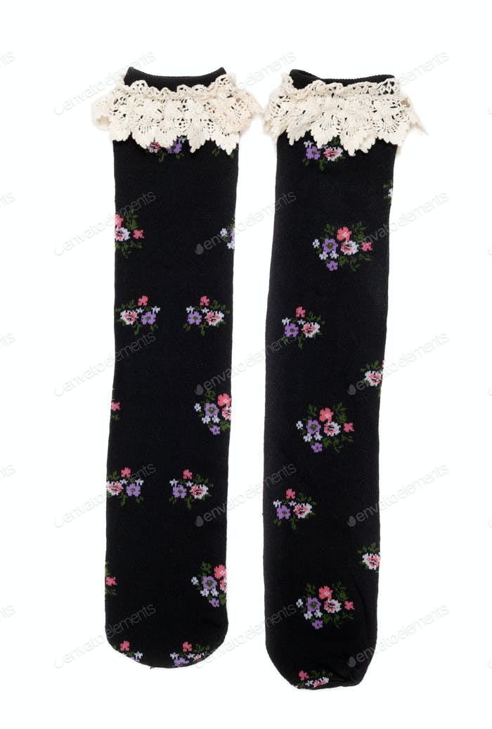 pair of female socks with lace.