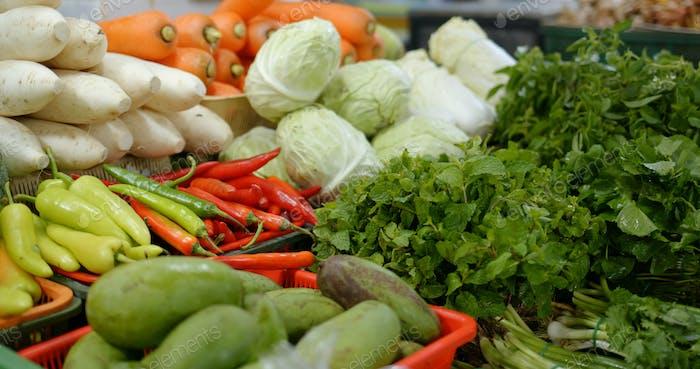 Fresh vegetable sell in wet market