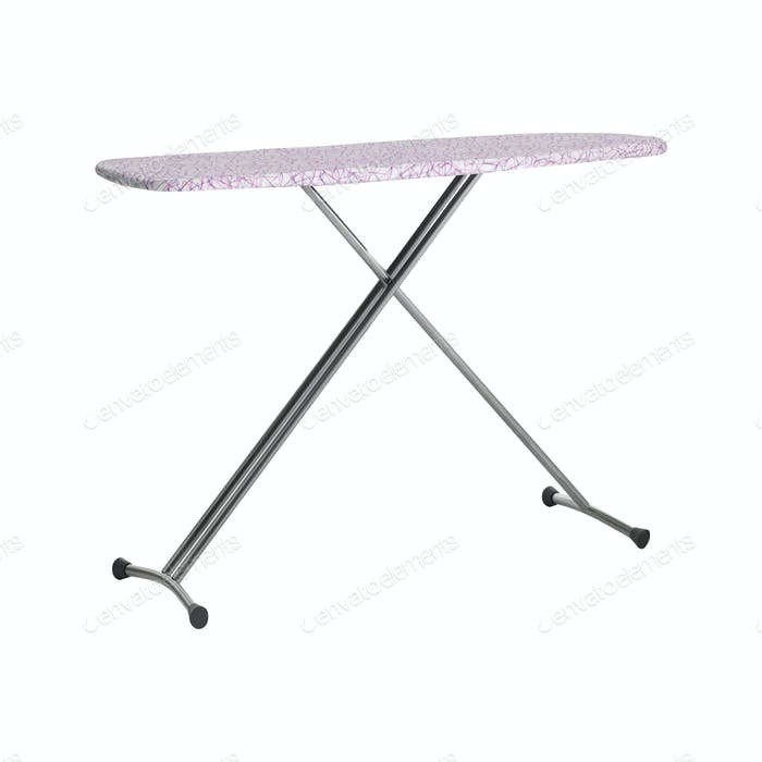 Empty ironing board isolated on white