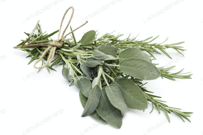 tied twigs of sage and rosemary
