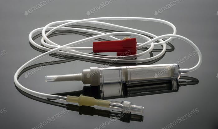 Blood extraction equipment to a donor in a hospital, conceptual image